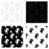 Cute Cartoon Summer Fox Pattern Set With Happy Fox Holding A Balloon. Sweet Vector Black And White S poster
