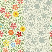 Unusual Striped Floral Vintage Border Design With Hand Drawn Flowers . Seamless Vector Pattern With  poster