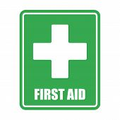 First Aid Help Vector Eps10 On White Background. First Aid Sign. Green Square And White Cross Symbol poster