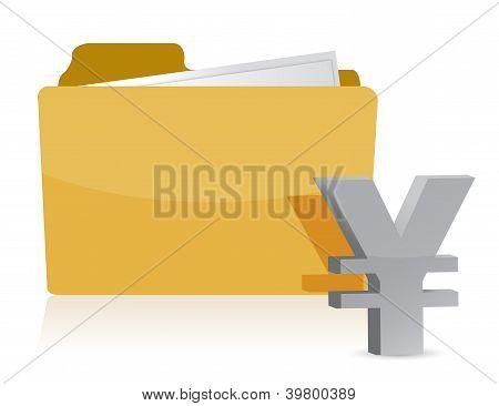 Yen Sign And Folder