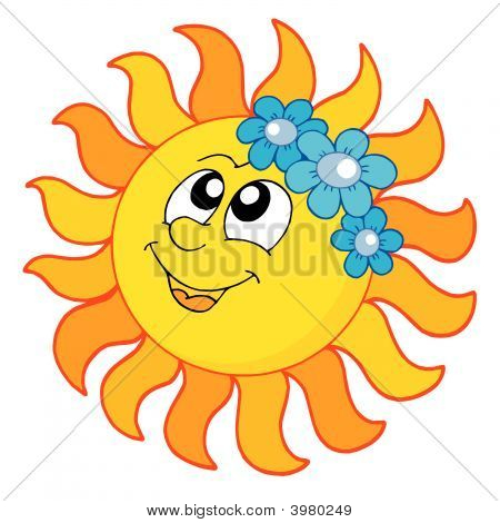 Smiling Sun With Flowers Vector