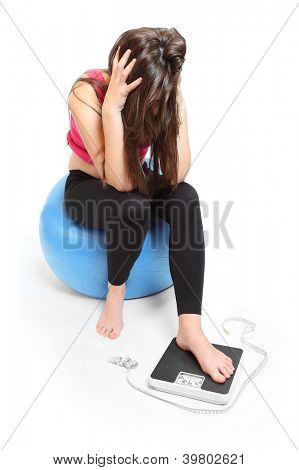 Overweight depressed woman.