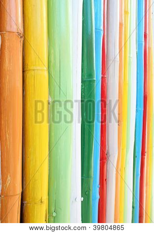 Colorful Of Bamboo Wall Texture