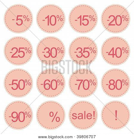 Retro stylized pink sale icons or tag stickers. Vector illustration isolated on white background