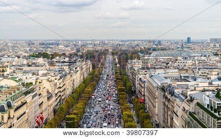 Avenue Des Champs-�lys�es As Seen From The Arc De Triomphe. Paris, France