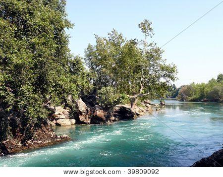 Manavgat River In Side, Antalya Region, Turkey
