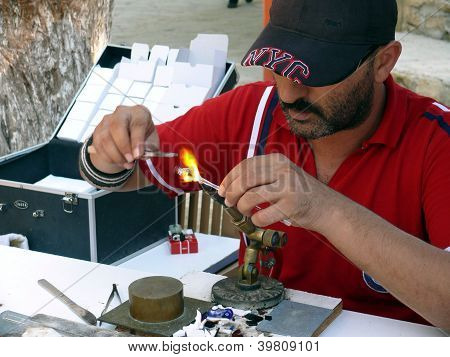 Side, Turkey - September 04, 2008: Man Make A Little Glass Toys For Tourists On September 04, 2008 I