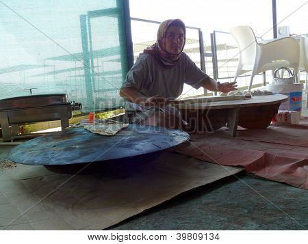Alanya, Turkey - September 05, 2008: Woman Make A Traditional Meal In Hotel Bar On September 05, 200