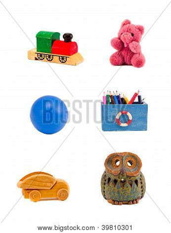 Various Toys Group Isolated On White