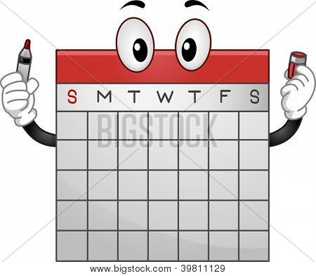 Mascot Illustration of an Office Calendar Holding a Marker