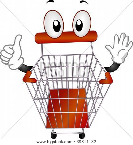 Mascot Illustration of a Pushcart Giving a Thumbs Up