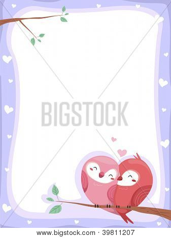 Background Illustration of Lovebirds perched on a branch of a tree with hearts on the border