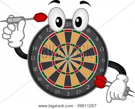 Mascot Illustration of a Dartboard Holding a Dart