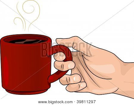 Illustration of Hand Holding a Red Mug of Hot Coffee