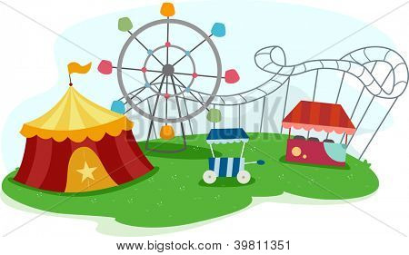 Illustration of a Theme Park with Rides