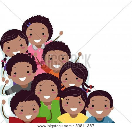 Grenze Abbildung der afroamerikanischen Stickman Kids