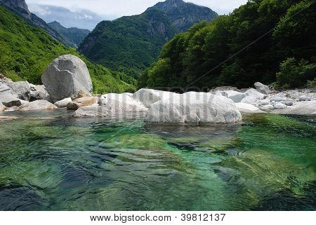 Panorama of Verzasca-valley in Switzerland