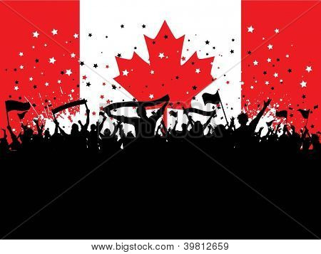 Silhouette of a party crowd on a Canadian flag background