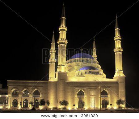 Floodlit Blue Mosque In Beirut