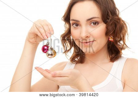 Beautiful Woman With Three Colorful Balls