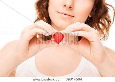 Picture Of Woman With Candy Heart