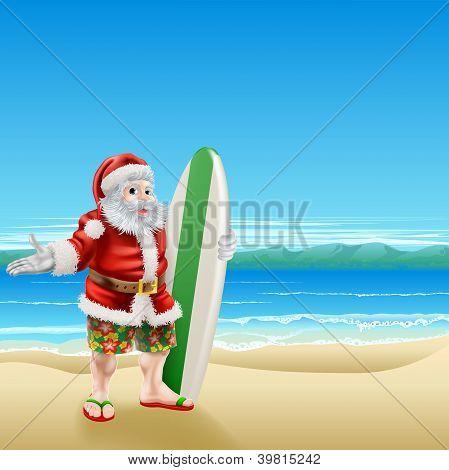 Surf Santa On The Beach