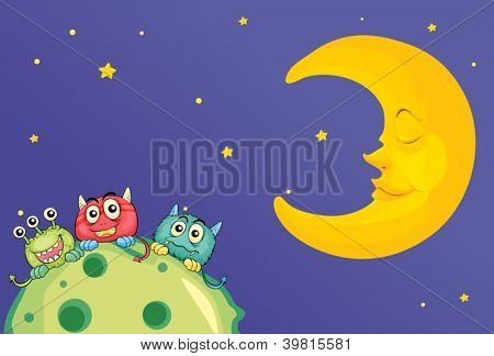 illustration of monsters and a moon in the sky