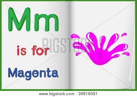 illustration of magenta color splash on a book on a white background