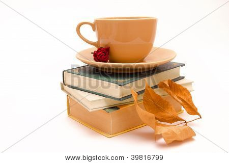 Autunm Fiction With Cup Of Tea/cofee