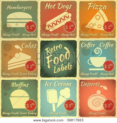 Set Of Retro Food Labels