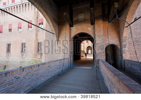 Bridge To The Castle Estense In Ferrara