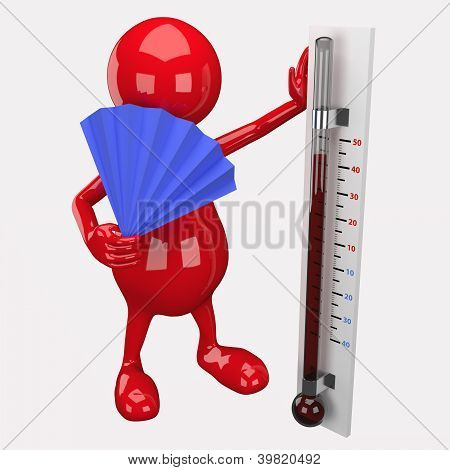 3D People Holding Thermometer
