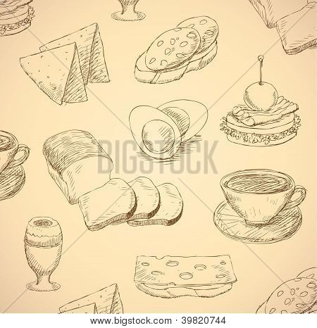Breakfast Hand Drawn Food Set Vector