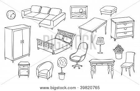 Different Furniture Vector Set