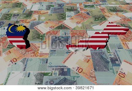 Malaysia Map flag on Ringgit illustration