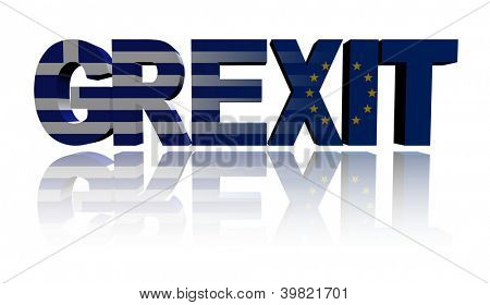 Grexit text with Greek and Eu flags illustration