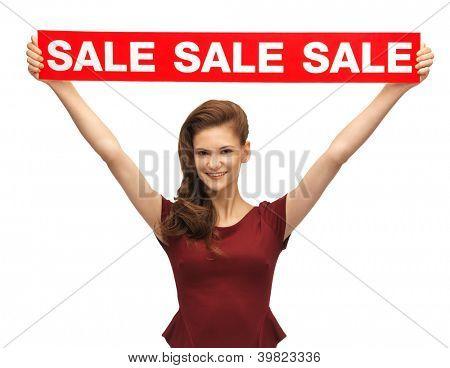 imagens de adolescente em vestido vermelho com sinal de venda