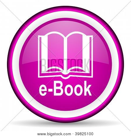 e-book violet glossy icon on white background