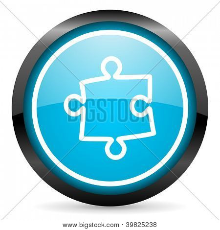puzzle blue glossy circle icon on white background