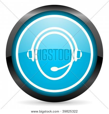 customer service blue glossy circle icon on white background