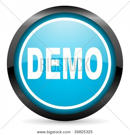 demo blue glossy circle icon on white background