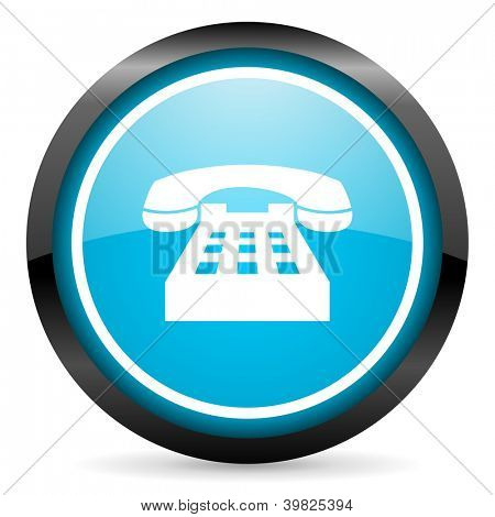 phone blue glossy circle icon on white background