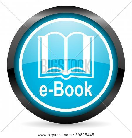 e-book blue glossy circle icon on white background