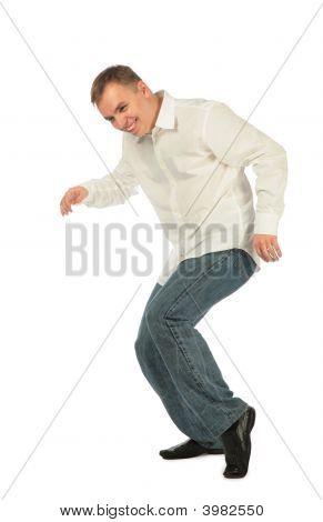 Young Man In White Shirt Dancing