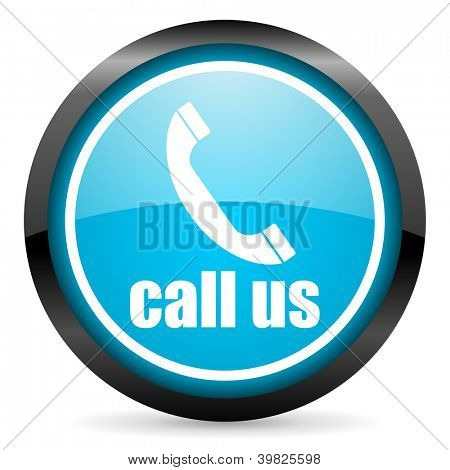 call us blue glossy circle icon on white background