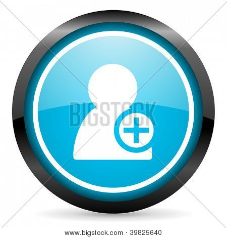 add contact blue glossy circle icon on white background