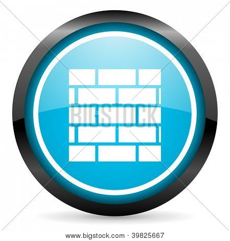 firewall blue glossy circle icon on white background