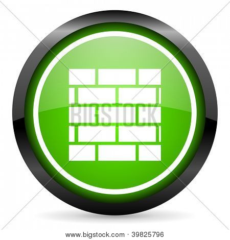 firewall green glossy icon on white background