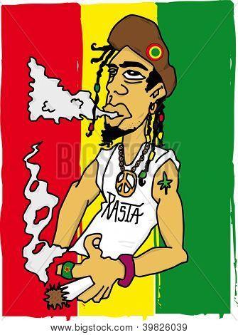 Rasta man. Illustration of a rastafarian man on a jamaican flag