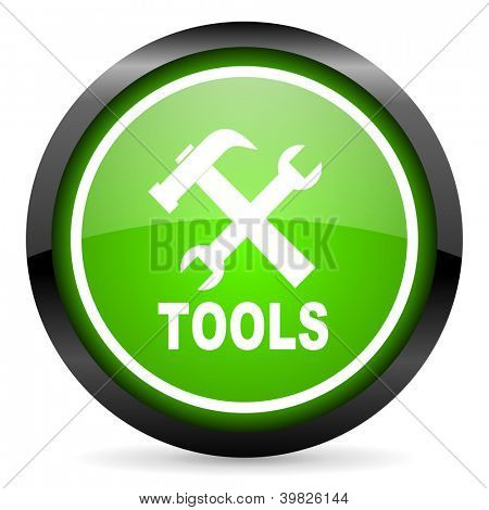tools green glossy icon on white background